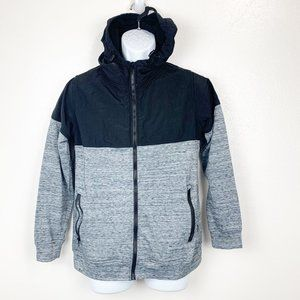 Ocean Current Mixed Fabric Hoodie Sweater